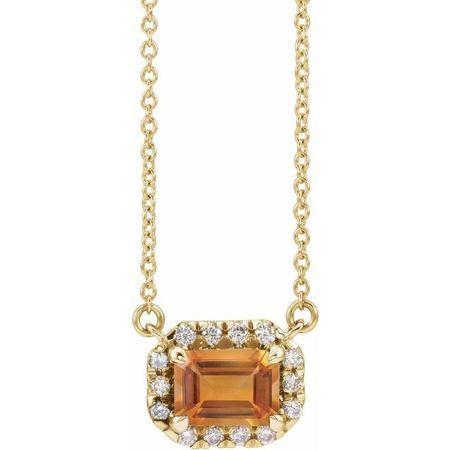 Golden Citrine Necklace in 14 Karat Yellow Gold 7x5 mm Emerald Citrine & 1/5 Carat Diamond 18