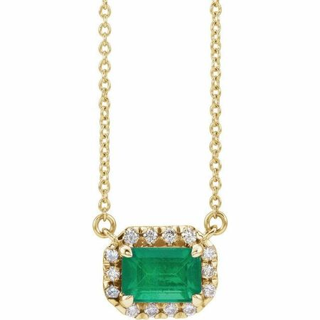 Genuine Emerald Necklace in 14 Karat Yellow Gold 7x5 mm Emerald Emerald & 1/5 Carat Diamond 18
