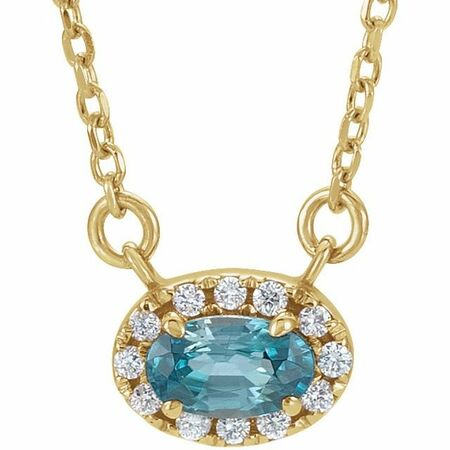 Genuine Zircon Necklace in 14 Karat Yellow Gold 7x5 mm Oval Genuine Zircon & 1/6 Carat Diamond 18