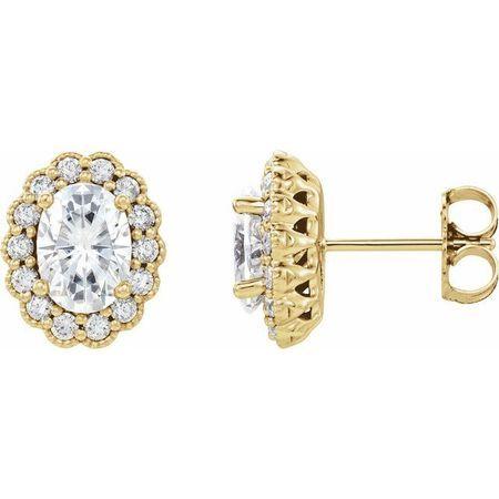 Created Moissanite Earrings in 14 Karat Yellow Gold 7x5 mm Oval Forever One Moissanite & 3/8 Carat Diamond Earrings