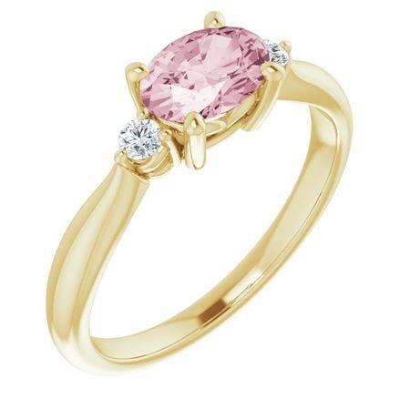 Pink Morganite Ring in 14 Karat Yellow Gold 7x5 mm Oval Morganite & .08 Carat Diamond Ring