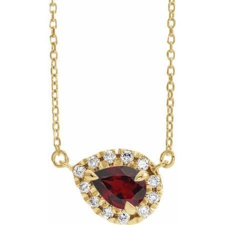 Red Garnet Necklace in 14 Karat Yellow Gold 8x5 mm Pear Mozambique Garnet & 1/5 Carat Diamond 18