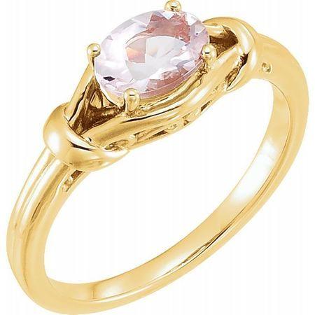 Pink Morganite Ring in 14 Karat Yellow Gold 8x6 mm Oval Morganite Knot Ring