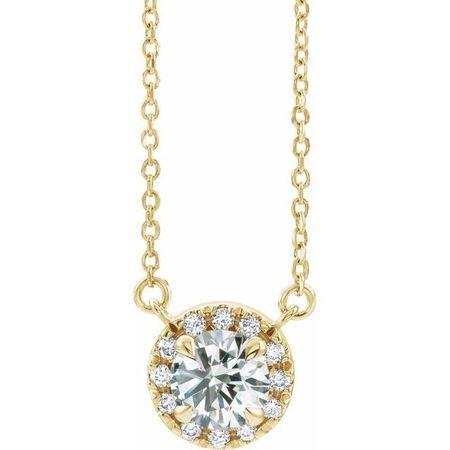 White Diamond Necklace in 14 Karat Yellow Gold 9/10 Carat Diamond 18