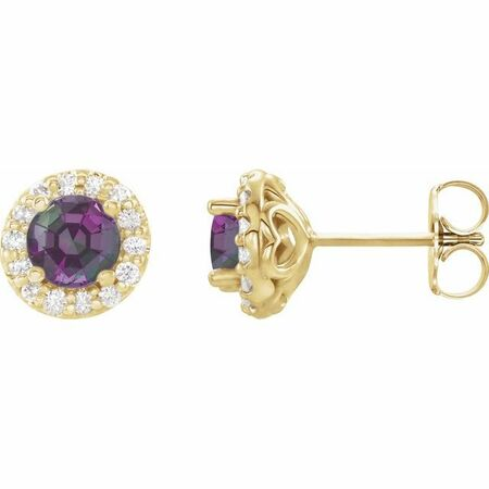 Genuine Alexandrite Earrings in 14 Karat Yellow Gold Alexandrite & 1/6 Carat Diamond Earrings