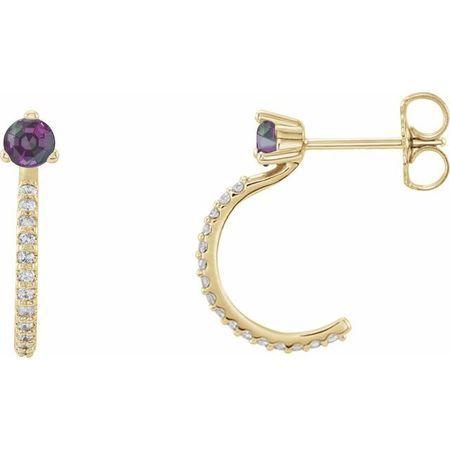 Genuine Alexandrite Earrings in 14 Karat Yellow Gold Alexandrite & 1/6 Carat Diamond Hoop Earrings