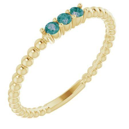 Genuine Alexandrite Ring in 14 Karat Yellow Gold Alexandrite Beaded Ring