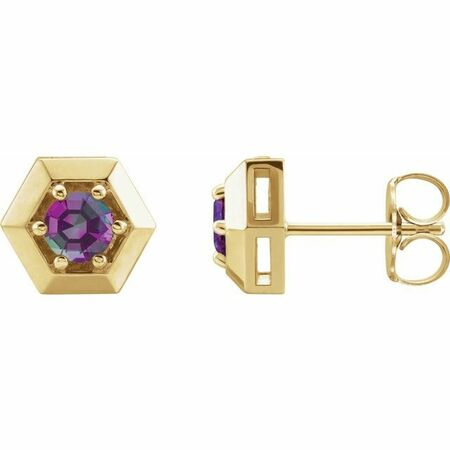 Genuine Alexandrite Earrings in 14 Karat Yellow Gold Alexandrite Geometric Earrings