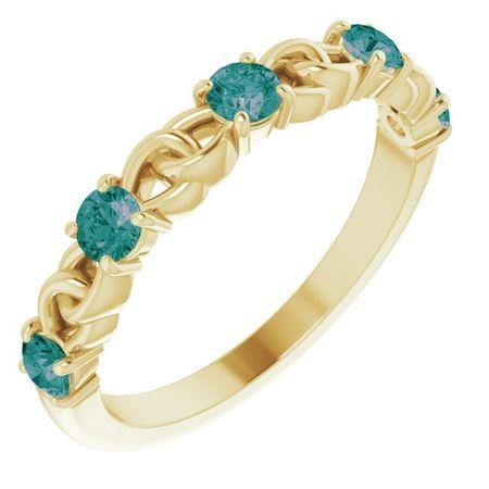 Genuine Alexandrite Ring in 14 Karat Yellow Gold Alexandrite Stackable Link Ring