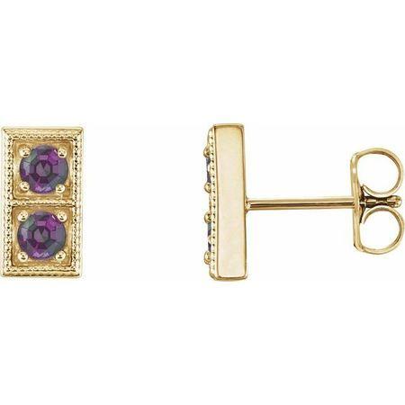 Genuine Alexandrite Earrings in 14 Karat Yellow Gold AlexandriteTwo-Stone Earrings