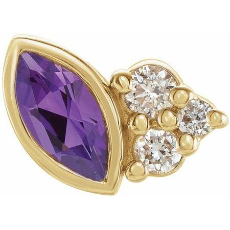 14 Karat Yellow Gold Amethyst & .03 Carat Weight Diamond Left Earring
