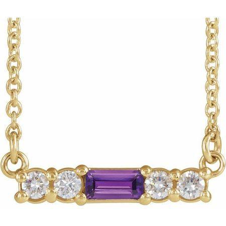 14K Yellow Amethyst & 1/5 CTW Diamond 18