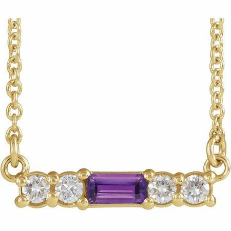 14 Karat Yellow Gold Amethyst & 0.2 Carat Weight Diamond 18