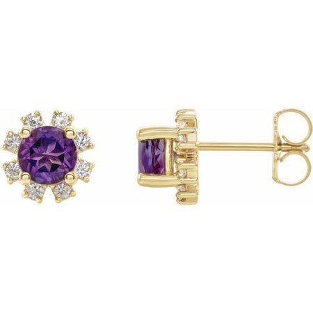 14 Karat Yellow Gold Amethyst & 0.2 Carat Weight Diamond Earrings