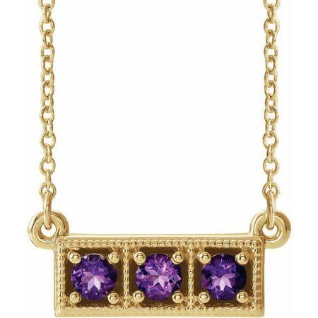 Genuine Amethyst Necklace in 14 Karat Yellow Gold Amethyst Three-Stone Granulated Bar 16-18
