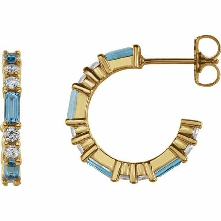 Genuine Aquamarine Earrings in 14 Karat Yellow Gold Aquamarine & 1/2 Carat Diamond Earrings