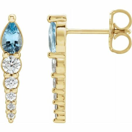Genuine Aquamarine Earrings in 14 Karat Yellow Gold Aquamarine & 1/4 Carat Diamond Earrings
