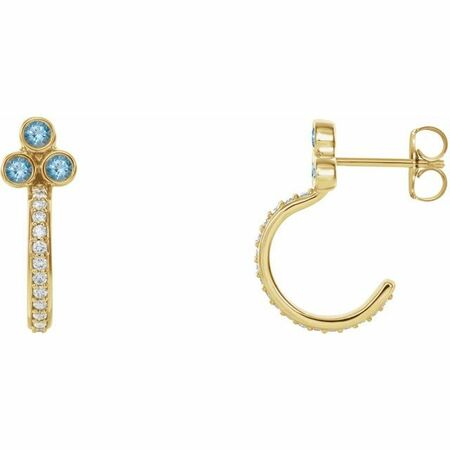 Genuine Aquamarine Earrings in 14 Karat Yellow Gold Aquamarine & 1/4 Carat Diamond J-Hoop Earrings