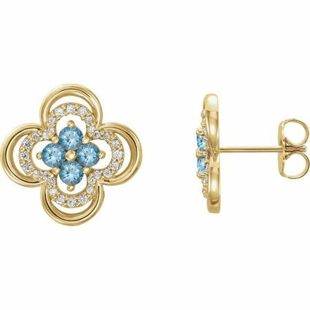 Genuine Aquamarine Earrings in 14 Karat Yellow Gold Aquamarine & 1/5 Carat Diamond Clover Earrings