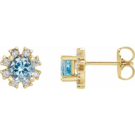 Genuine Aquamarine Earrings in 14 Karat Yellow Gold Aquamarine & 1/5 Carat Diamond Earrings