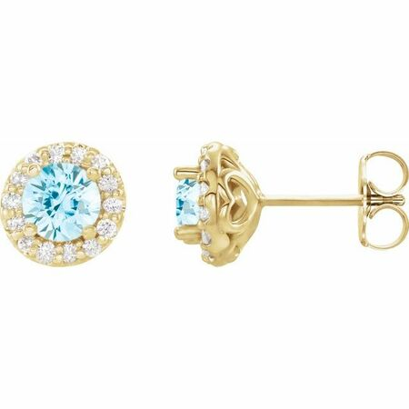 Genuine Aquamarine Earrings in 14 Karat Yellow Gold Aquamarine & 1/6 Carat Diamond Earrings