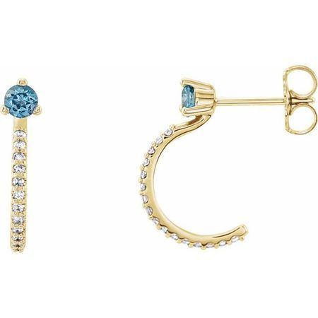 Genuine Aquamarine Earrings in 14 Karat Yellow Gold Aquamarine & 1/6 Carat Diamond Hoop Earrings