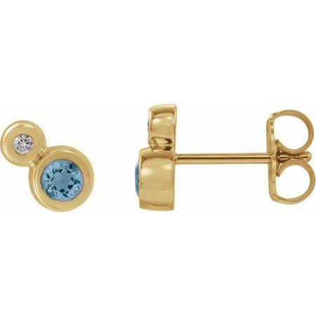 Genuine Aquamarine Earrings in 14 Karat Yellow Gold Aquamarine & 1/8 Carat Diamond Earrings