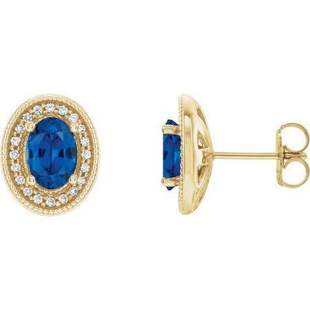 Genuine Sapphire Earrings in 14 Karat Yellow Gold Genuine Sapphire & 1/5 Carat Diamond Halo-Style Earrings