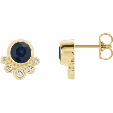 Genuine Sapphire Earrings in 14 Karat Yellow Gold Genuine Sapphire & 1/8 Carat Diamond Earrings