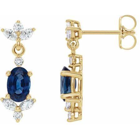 Genuine Sapphire Earrings in 14 Karat Yellow Gold Genuine Sapphire & 3/8 Carat Diamond Earrings