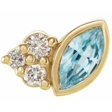 14 Karat Yellow Gold Blue Zircon & .03 Carat Weight Diamond Right Earring