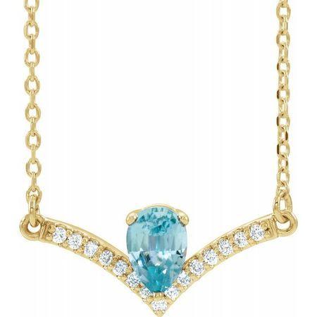 Genuine Zircon Necklace in 14 Karat Yellow Gold Genuine Zircon & .06 Carat Diamond 18
