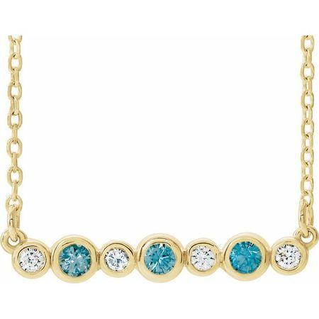 Genuine Zircon Necklace in 14 Karat Yellow Gold Genuine Zircon & .08 Carat Diamond Bezel-Set Bar 16-18