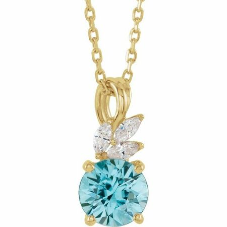 Genuine Zircon Necklace in 14 Karat Yellow Gold Genuine Zircon & 1/10 Carat Diamond 16-18