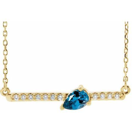 Genuine Zircon Necklace in 14 Karat Yellow Gold Genuine Zircon & 1/10 Carat Diamond 18