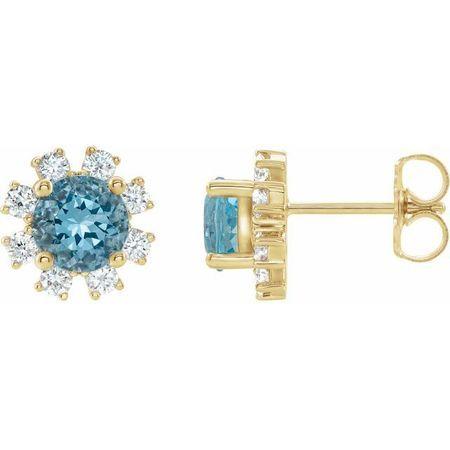 Genuine Zircon Earrings in 14 Karat Yellow Gold Genuine Zircon & 1/2 Carat Diamond Earrings