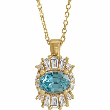 Genuine Zircon Necklace in 14 Karat Yellow Gold Genuine Zircon & 1/3 Carat Diamond 16-18