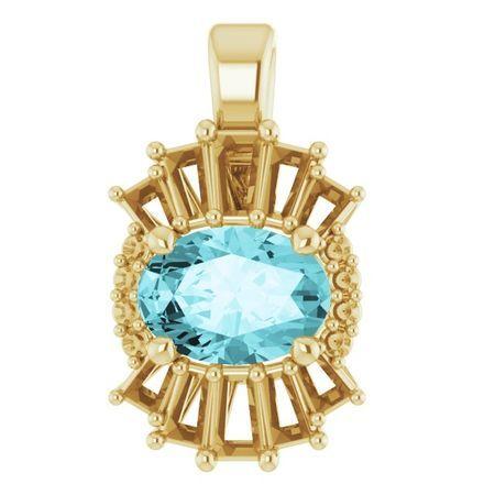 Genuine Zircon Pendant in 14 Karat Yellow Gold Genuine Zircon & 1/3 Carat Diamond Pendant