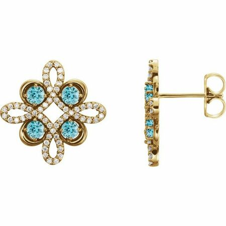 Genuine Zircon Earrings in 14 Karat Yellow Gold Genuine Zircon & 1/4 Carat Diamond Earrings
