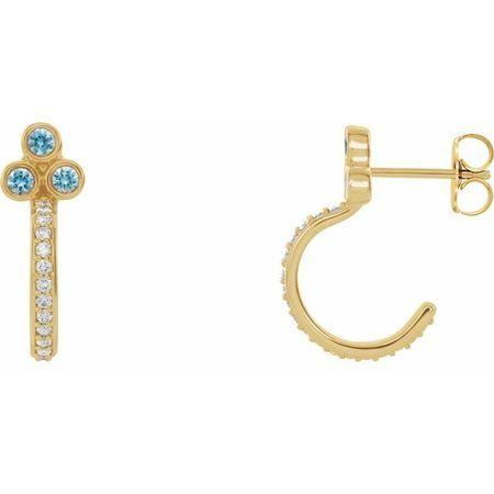Genuine Zircon Earrings in 14 Karat Yellow Gold Genuine Zircon & 1/4 Carat Diamond J-Hoop Earrings