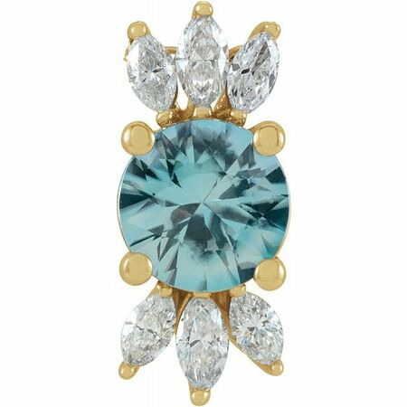 Genuine Zircon Pendant in 14 Karat Yellow Gold Genuine Zircon & 1/4 Carat Diamond Pendant
