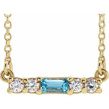 Genuine Zircon Necklace in 14 Karat Yellow Gold Genuine Zircon & 1/5 Carat Diamond 16