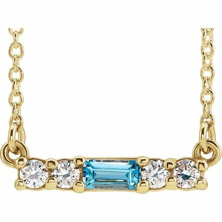 Genuine Zircon Necklace in 14 Karat Yellow Gold Genuine Zircon & 1/5 Carat Diamond 18
