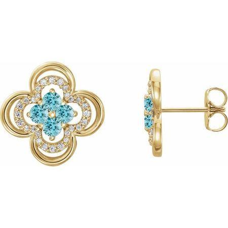 Genuine Zircon Earrings in 14 Karat Yellow Gold Genuine Zircon & 1/5 Carat Diamond Clover Earrings