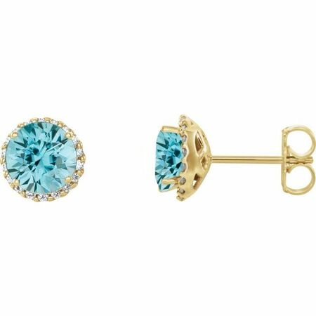 Genuine Zircon Earrings in 14 Karat Yellow Gold Genuine Zircon & 1/5 Carat Diamond Earrings