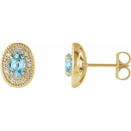 Genuine Zircon Earrings in 14 Karat Yellow Gold Genuine Zircon & 1/5 Carat Diamond Halo-Style Earrings