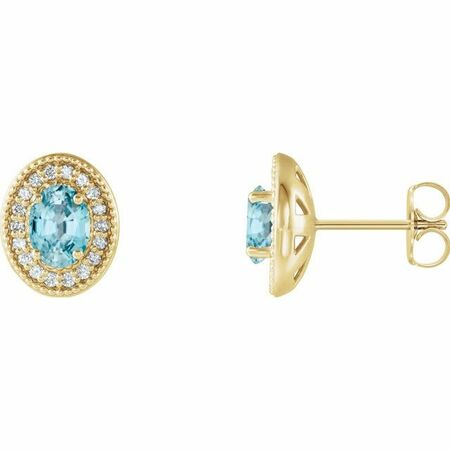 Genuine Zircon Earrings in 14 Karat Yellow Gold Genuine Zircon & 1/5 Carat Diamond Halo-Style Earrings