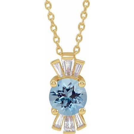 Genuine Zircon Necklace in 14 Karat Yellow Gold Genuine Zircon & 1/6 Carat Diamond 16-18