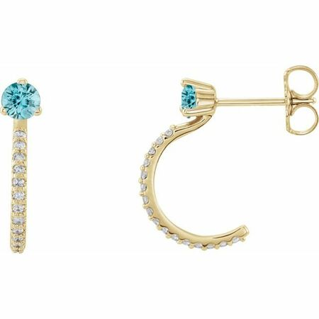 Genuine Zircon Earrings in 14 Karat Yellow Gold Genuine Zircon & 1/6 Carat Diamond Hoop Earrings
