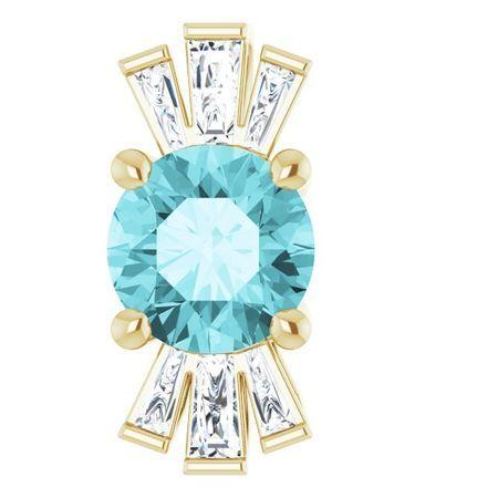 Genuine Zircon Pendant in 14 Karat Yellow Gold Genuine Zircon & 1/6 Carat Diamond Pendant